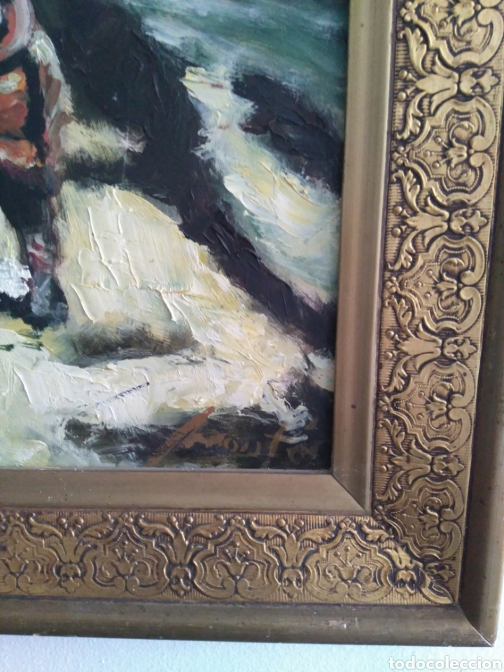 Arte: Antigua Pintura al óleo sobre tabla de Don Quijote de la Mancha. - Foto 3 - 156467738