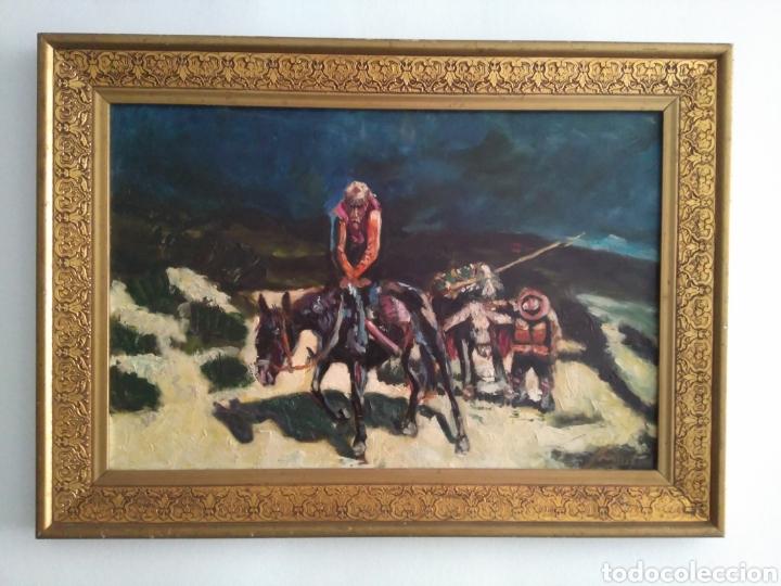 Arte: Antigua Pintura al óleo sobre tabla de Don Quijote de la Mancha. - Foto 2 - 156467738