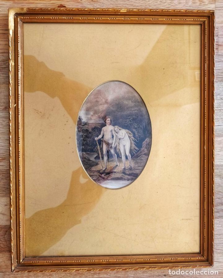 MAGISTRAL OBRA DE ADAN Y EVA EXPULSADOS DEL PARAISO, GRAN CALIDAD, DETALLE Y MINUCIOSIDAD (Arte - Pintura - Pintura al Óleo Antigua siglo XVIII)