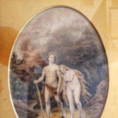 Arte: MAGISTRAL OBRA DE ADAN Y EVA EXPULSADOS DEL PARAISO, GRAN CALIDAD, DETALLE Y MINUCIOSIDAD. Lote 156485830