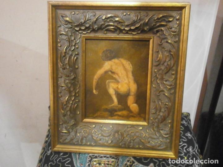 CUADRO ENMARCADO OLEO SOBRE TABLA CONTRACHAPADO DESNUDO MASCULINO FIRMADO LANGA 31 X 28 CM. (Arte - Pintura - Pintura al Óleo Contemporánea )