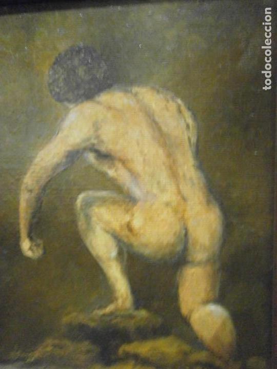Arte: Cuadro enmarcado oleo sobre tabla contrachapado desnudo masculino firmado Langa 31 X 28 cm. - Foto 2 - 156541302
