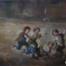 Arte: CUADRO DE TÉCNICA Y ESPÍRITU GOYESCO. O/TABLA. CUATRO NIÑOS JUGANDO . Lote 156550802