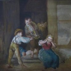 Arte: CUADRO DE TÉCNICA Y ESPÍRITU GOYESCO, NIÑO TOCANDO LA TROMPETA. Lote 156551718