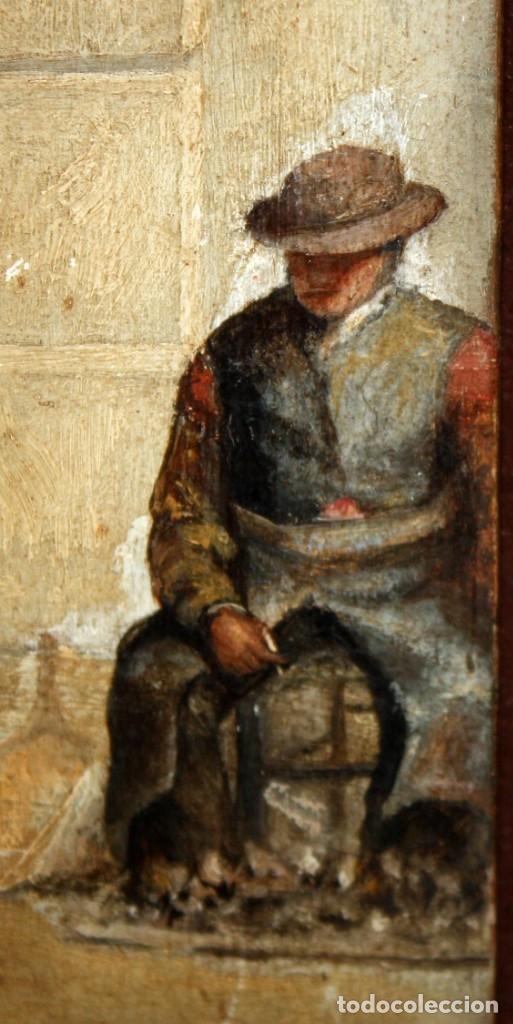 Arte: AUTORIA DESCONOCIDA DEL ULTIMO TERCIO DEL SIGLO XIX. OLEO SOBRE TABLA. ESCENA DE UN MERCADO - Foto 6 - 156579046