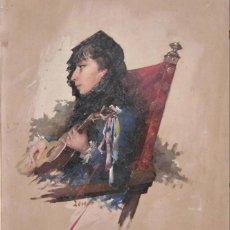 Arte: HORACIO LENGO MARTINEZ - TORREMOLINOS MALAGA 1838 MADRID 1890 OLEO MAJA MALAGUEÑA CON GUITARRA. Lote 156632270