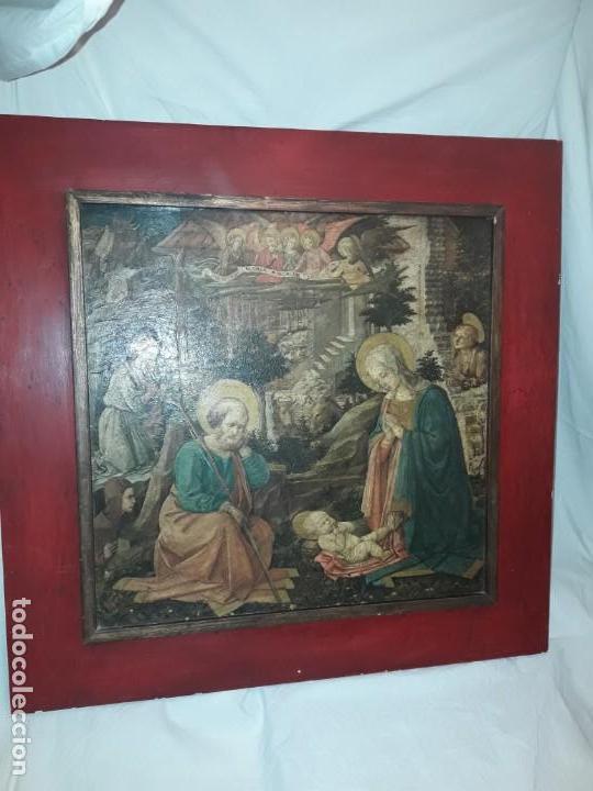Arte: Magnifico cuadro reproducción sobre madera Adoración al Niño Jesús y Santos F. Filippo Lippi - Foto 2 - 156766746