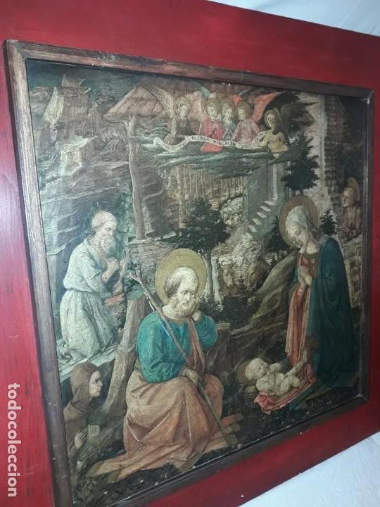 Arte: Magnifico cuadro reproducción sobre madera Adoración al Niño Jesús y Santos F. Filippo Lippi - Foto 4 - 156766746