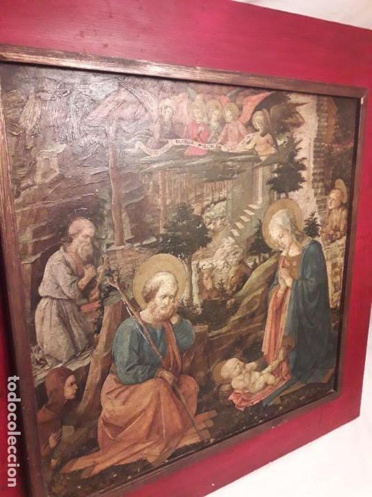 Arte: Magnifico cuadro reproducción sobre madera Adoración al Niño Jesús y Santos F. Filippo Lippi - Foto 5 - 156766746