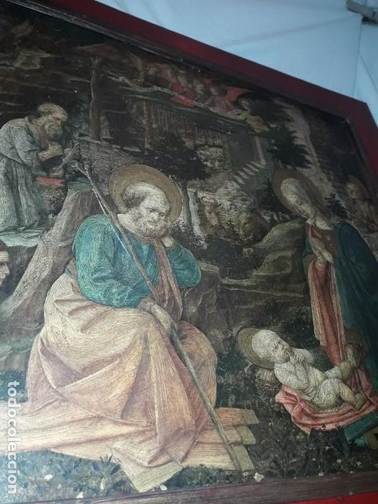 Arte: Magnifico cuadro reproducción sobre madera Adoración al Niño Jesús y Santos F. Filippo Lippi - Foto 12 - 156766746