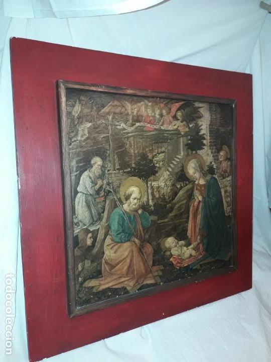 Arte: Magnifico cuadro reproducción sobre madera Adoración al Niño Jesús y Santos F. Filippo Lippi - Foto 14 - 156766746