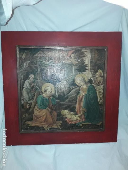 Arte: Magnifico cuadro reproducción sobre madera Adoración al Niño Jesús y Santos F. Filippo Lippi - Foto 15 - 156766746