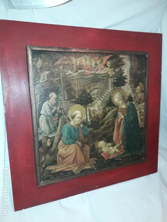 MAGNIFICO CUADRO REPRODUCCIÓN SOBRE MADERA ADORACIÓN AL NIÑO JESÚS Y SANTOS F. FILIPPO LIPPI (Arte - Pintura - Pintura al Óleo Antigua sin fecha definida)