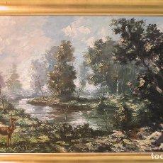 Arte: PAISAJE CON CIERVOS - NÉSTOR RUFINO DE ALARCÓN. Lote 156831174
