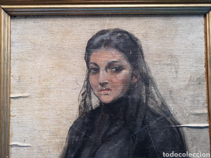 Arte: Interesante oleo sobre lienzo recortado y pegado en tablex. Firmado epla? C pla? - Foto 3 - 156920238