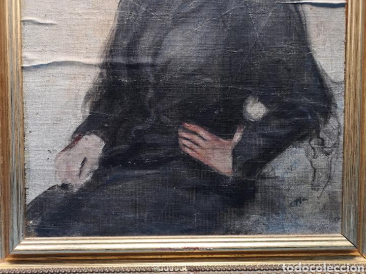 Arte: Interesante oleo sobre lienzo recortado y pegado en tablex. Firmado epla? C pla? - Foto 4 - 156920238