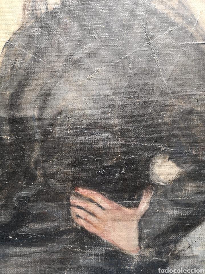Arte: Interesante oleo sobre lienzo recortado y pegado en tablex. Firmado epla? C pla? - Foto 8 - 156920238
