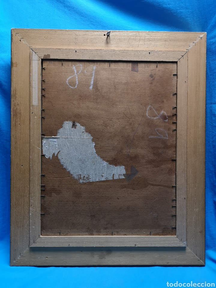 Arte: Interesante oleo sobre lienzo recortado y pegado en tablex. Firmado epla? C pla? - Foto 11 - 156920238
