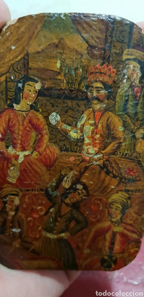 Arte: Pintura muy antigua ole sobre carton o cuero muy rara - Foto 2 - 156950642