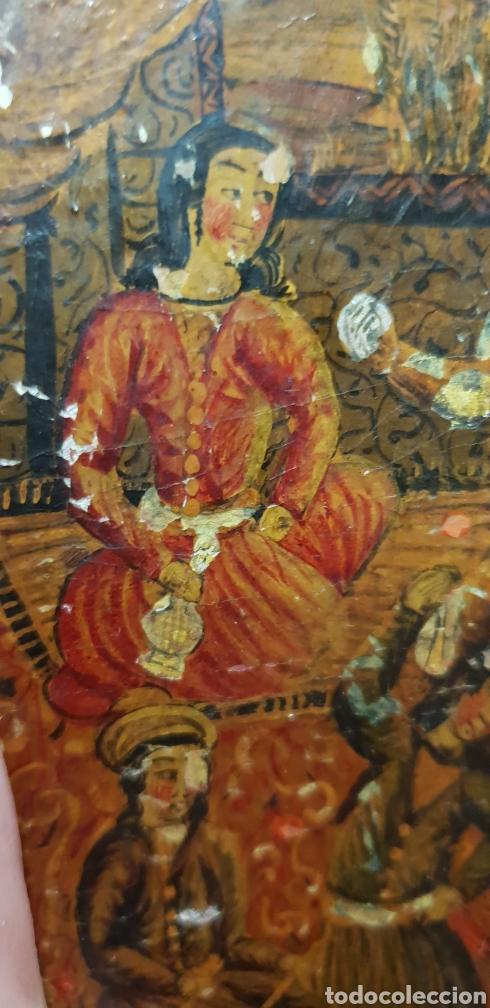 Arte: Pintura muy antigua ole sobre carton o cuero muy rara - Foto 4 - 156950642