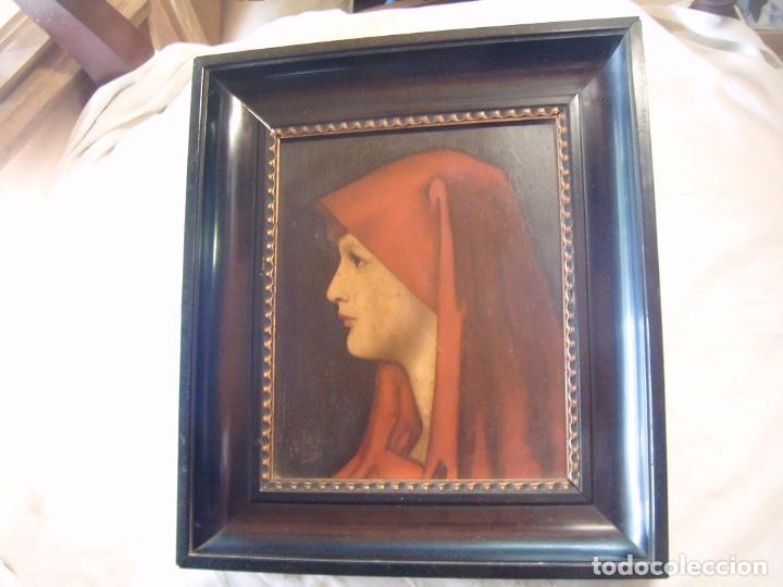CUADRO AL ÓLEO DE UNA SEÑORA CON PAÑUELO (Arte - Pintura - Pintura al Óleo Antigua sin fecha definida)