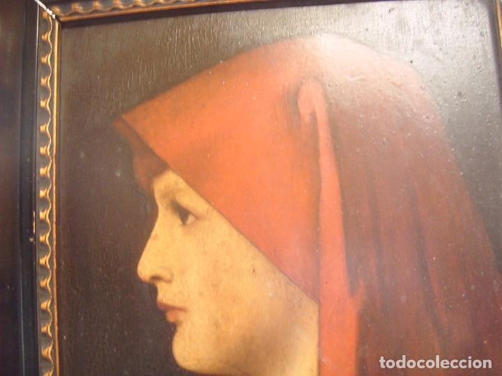 Arte: cuadro al óleo de una SEÑORA CON PAÑUELO - Foto 3 - 156980922