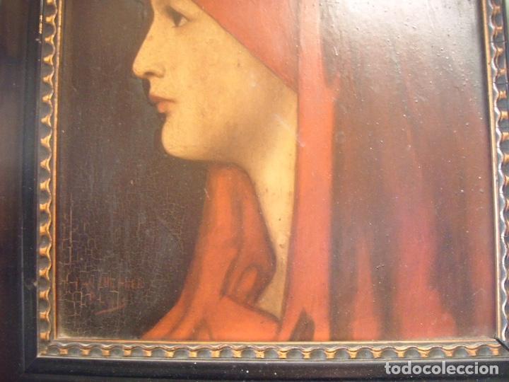 Arte: cuadro al óleo de una SEÑORA CON PAÑUELO - Foto 4 - 156980922