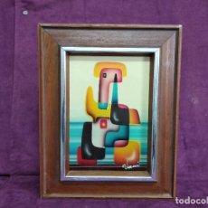 Arte: BONITO CUADRO VINTAGE, PINTADO A MANO, ESTILO CUBISTA, TÉCNICA MIXTA, FIRMADO VANI, ENMARCADO. Lote 156990886
