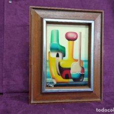 Arte: BONITO CUADRO VINTAGE, PINTADO A MANO, ESTILO CUBISTA, TÉCNICA MIXTA, FIRMADO VANI, ENMARCADO. Lote 156990990