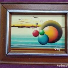 Arte: BONITO CUADRO VINTAGE, PINTADO A MANO, ESTILO CUBISTA, TÉCNICA MIXTA, FIRMADO VANI, ENMARCADO. Lote 156991118