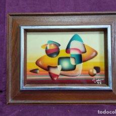 Arte: BONITO CUADRO VINTAGE, PINTADO A MANO, ESTILO CUBISTA, TÉCNICA MIXTA, FIRMADO VANI, ENMARCADO. Lote 156991202