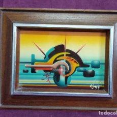Arte: BONITO CUADRO VINTAGE, PINTADO A MANO, ESTILO CUBISTA, TÉCNICA MIXTA, FIRMADO VANI, ENMARCADO. Lote 156991254