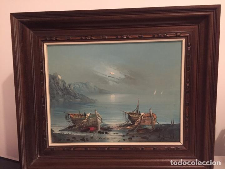 BARCOS PESQUEROS/ÓLEO SOBRE LIENZO/FIRMADO POR MIQ_EL (Arte - Pintura - Pintura al Óleo Antigua sin fecha definida)