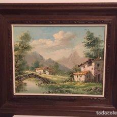 Arte: CASAS EN LA MONTAÑA-CUADRO EN ÓLEO SOBRE LIENZO FIRMADO POR VASQUEZ. Lote 157132285