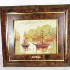 Arte: CUADRO PAISAJE MARINA PUERTO VALENCIA JOSEP SEGRELLES. Lote 157134618