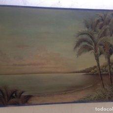 Arte: CUADRO MADERA MARINA AUTOR ROMANO PAISAJE PLAYA. Lote 157142858