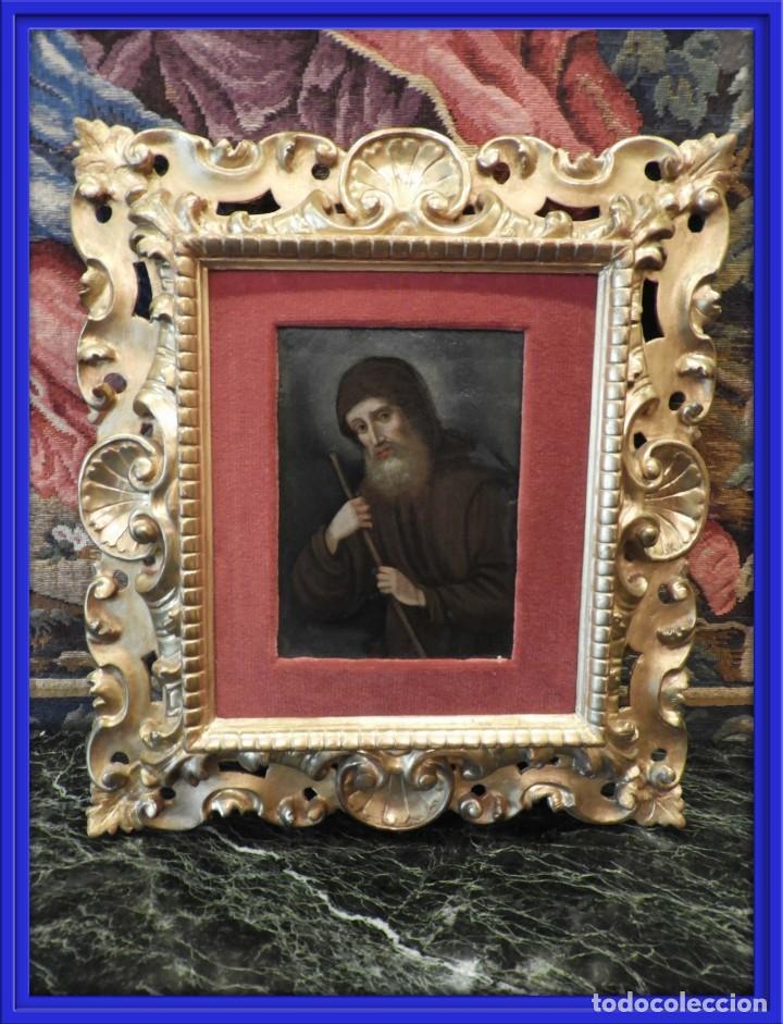 MAGNIFICO OLEO SOBRE TABLA DE SAN FRANCISCO CON CORNUCOPIA. S. XVIII (Arte - Pintura - Pintura al Óleo Antigua siglo XVIII)