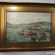Arte: GALICIA, LA CORUÑA PUERTO PESCADORES, OLEO SOBRE TABLA DE 22X16CM - FIRMA LUIS MARISTANY + INFO. Lote 157272854