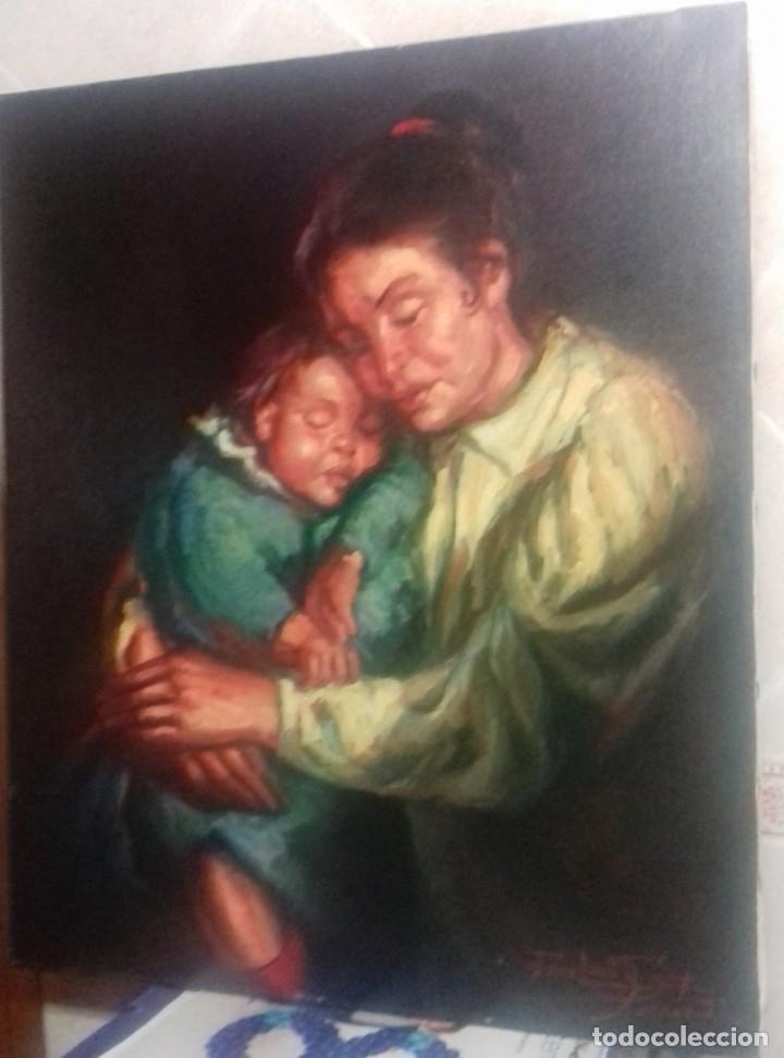 JOLOGA. GITANA CON NIÑO. 65X54. F15. MARCO DE REGALO. (Arte - Pintura - Pintura al Óleo Contemporánea )