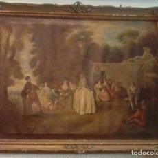 Arte: ESCUELA FRANCESA ESCENA ROMANTICA EN UN JARDIN. Lote 157331422