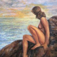 Arte: MUJER DESNUDA ANTE EL MAR, GRAN FORMATO. Lote 157394846