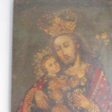 Arte: S. JOSE C/NIÑO - ESCUELA CUZQUEÑA PERU S-XVII 56X75 CM. Lote 157679346