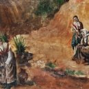 Arte: MUJERES EN EL RÍO. ÓLEO SOBRE LIENZO. SUBIDA A LA FUENTE EL SOL (VALLADOLID). FIRMADO: P. COLLADO.. Lote 157766014