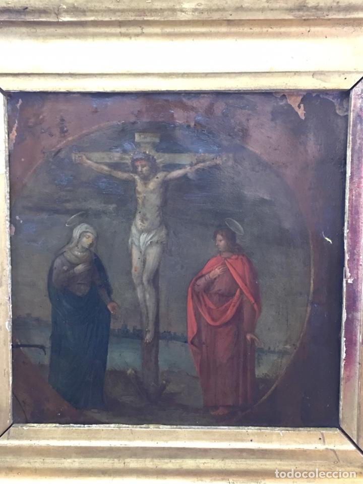 Arte: ANTIGUO OLEO SOBRE COBRE - CALVARIO - SIGLO XVI - Foto 4 - 157778768