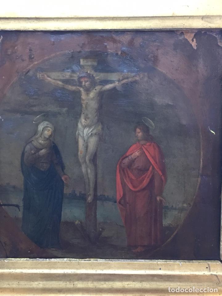 Arte: ANTIGUO OLEO SOBRE COBRE - CALVARIO - SIGLO XVI - Foto 5 - 157778768
