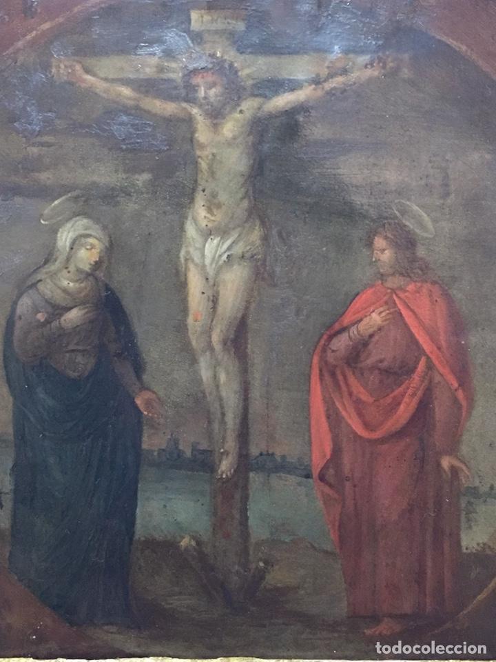 ANTIGUO OLEO SOBRE COBRE - CALVARIO - SIGLO XVI (Arte - Pintura - Pintura al Óleo Antigua siglo XVI)