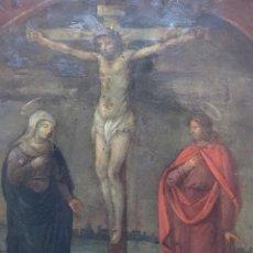 Arte: ANTIGUO OLEO SOBRE COBRE - CALVARIO - SIGLO XVI. Lote 157778768
