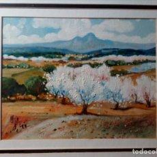 Arte: H. MARÍN - ÓLEO SOBRE LIENZO PEGADO A TABLA (PAISAJE) 53X53,5 CENTÍMETROS - FIRMADO. Lote 157860026