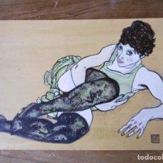 Arte: ADELE HARMS BONITA COPIA AL OLEO DE EGON SCHIELE. Lote 157950954
