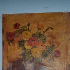 Arte: OLEO JARRON CON FLORES FIRMADO PACHECO SXIX. Lote 157951672